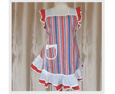 Apron 4th of July Apples and Polka