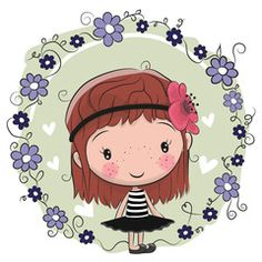 Cute Cartoon Girl and flowers on a pink background Illustration Mignonne, Cute Illustration, Cartoon Mignon, Kids Cartoon Characters, Unicorn Pictures, Cute Cartoon Girl, Kids Decor, Blythe Dolls, Cute Drawings