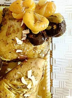 Moroccan Chicken  This chicken recipe is a traditional dish served for the holidays. Dried fruits mixed with different spices create a burst of flavors and a syrupy sauce that envelopes the chicken with a delectable taste.