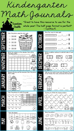 Use these themed math journals as a warm up as you are transitioning into math, as a center, during guided math, or even as independent work. Your kindergartners are go to LOVE these! Kindergarten Math Journals, Kindergarten Calendar, Numbers Kindergarten, Kindergarten Math Activities, Montessori Math, Kindergarten Classroom, Classroom Ideas, Math Tubs, Math Work