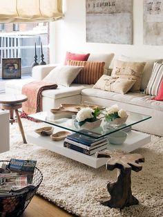 mesas de centro com tampo de vidro. Mesa de centro para decorar a sua sala. Living Room Sofa, Living Room Decor, Living Spaces, Home Furniture, Furniture Design, Coffee Table Design, Cozy House, Home And Living, Interior Design