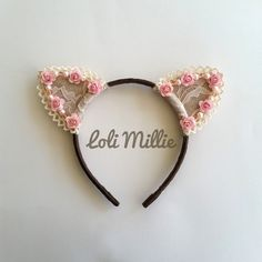 ❤ Létoile ❤    This listing is for (1) Headband.    This headband comes with our signature beads and roses arrangement. A must-have for all cat ears
