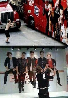 Niall Horan in front One Direction Tour bus