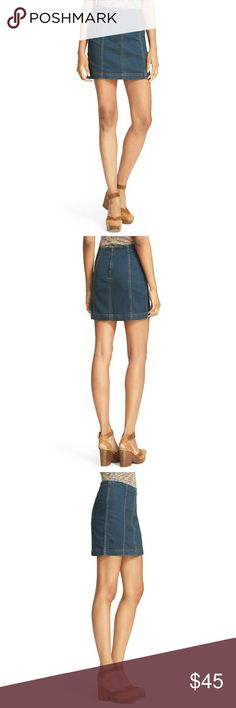 New! Free People Modern Femme Denim Mini Skirt Flattering vertical seams define the clean styling of a figure-flaunting denim miniskirt finished with a gleaming back zip to complete the cool-girl appeal. By Free People!  16 inches long  Hook and eye closure, zip closure  53% cotton, 23% rayon, 22% polyester, 2% spandex  Unlined  Machine wash cold, tumble dry low Free People Skirts Mini