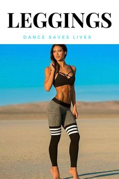 Three white striped athletic leggings.