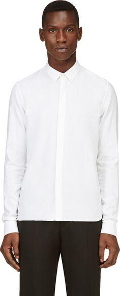 Krisvanassche White Wool Blend Slim Shirt
