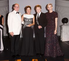 Prince Albert II and Princess Charlene of Monaco attend the 2015 Princess Grace Awards Gala with Sibylle Szaggars Redford and Robert Redford at Monaco Palace.   - TownandCountryMag.com