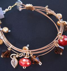 Recycled Guitar String Bracelet ~ Red Glow