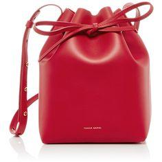 Mansur Gavriel Flamma Mini Bucket Bag ($610) ❤ liked on Polyvore featuring bags, handbags, shoulder bags, purses, leather shoulder bag, red leather purse, handbags shoulder bags, hand bags and leather bucket bag