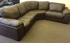BROWN LEATHER 3 PIECE CORNER (244 S) £699 in Home, Furniture & DIY, Furniture, Sofas, Armchairs & Suites | eBay