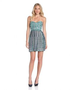 Women's #Fashion Clothing: Clothes: Parker Women's Ariel Strapless Mixed Pattern Print Dress in Green, White, and Black: #Dresses