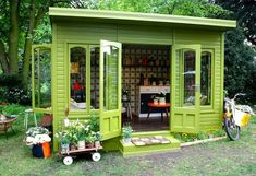 Kiely's Artisan Garden Retreat Here's a garden shed that is for relaxing. No dirt allowed in this shed:) Beautiful Here's a garden shed that is for relaxing. No dirt allowed in this shed:) Beautiful color! Outdoor Rooms, Outdoor Living, Outdoor Office, Dream Garden, Home And Garden, Diy Garden, Cottage Gardens, Garden Projects, Diy Projects