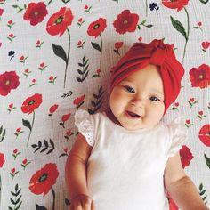 Summer Poppy Cotton Swaddle #littleunicorn