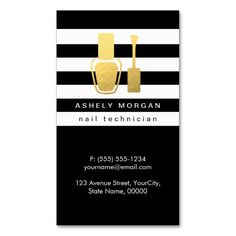 Nail Technician Gold Polish Bottle B&W Stripes Double-Sided Standard Business Cards (Pack Of 100)