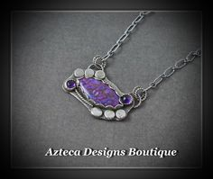 Pretty in Purple~ Mojave Sterling Silver Amethyst Artisan Necklace by AztecaDesignsBoutique, $195.00 USD