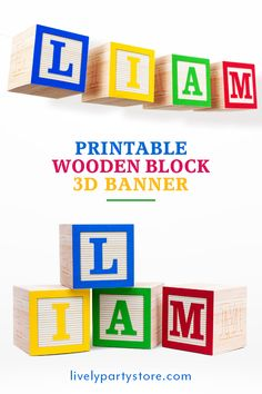 Digital files. high chair garland Primary colors 3D wooden style printable cubes Block letter banner all letters