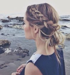 Great for bridesmaids lose french plait and messy bun