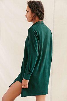 Urban Renewal Vintage Notch-Bottom Henley Dress - Urban Outfitters
