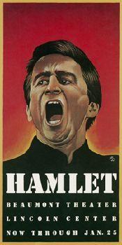 Hamlet con Sam Waterson (1975), il primo manifesto creato per Joe Papp per il New York Shakespeare Festival.