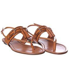 Gucci Beige Leather Flat Sandal