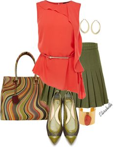 """""""Coral and Olive 2"""" by lbite1 on Polyvore.  For me, this is the first asymmetrical top that I have liked.  Cute look!"""