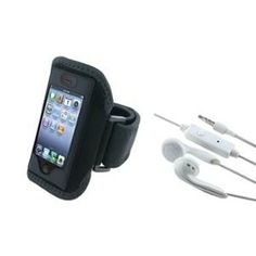 INSTEN Black Sport ArmBand+ White Earphone w/Mic For Apple iPhone 2 3 G 3GS 4 4th 4S 4GS