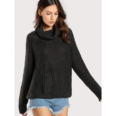 97826255efe05 SheIn(sheinside) Turtleneck Ribbed Oversize Sweater CHARCOAL ( 32) ❤ liked  on Polyvore