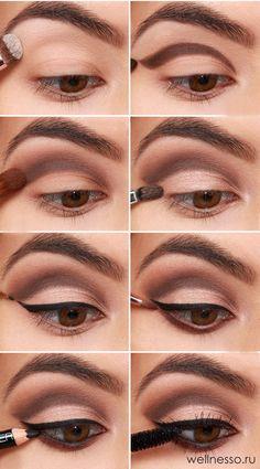 пошаговое нанесение свадебного макияжа для карих глаз