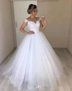 Off the Shoulder White Tulle Ball Gown Wedding Dress with Appliques Vestido de n. - Off the Shoulder White Tulle Ball Gown Wedding Dress with Appliques Vestido de novia by fancygirldr - Top Wedding Dresses, Wedding Dress Trends, Princess Wedding Dresses, Bridal Dresses, Bridesmaid Dresses, Lace Wedding, Wedding White, Wedding Ideas, Double Wedding