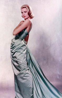 Grace Kelly in Edith Head's sea-foam Oscar gown for LIFE magazine April 11, 1955
