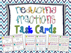 """Reducing Fractions to Simplest Form Task Cards { Common Core }.  16 Multiple Choice, 16 """"Short Answer"""" (no choice), 8 Word Problems. $"""