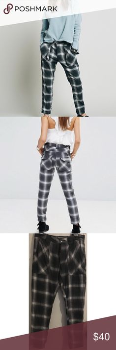 NEW Free People Plaid Utility Pants These cute pants are brand new without tags. Slouchy through the hips and slim in the legs. 100% cotton. Smoke free/pet friendly home. Free People Pants Skinny