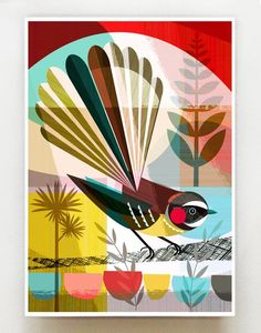 New Zealand Fantail, print. There are 3 size options: 21 x cm ~ x inches x 42 cm ~ x inches 42 x cm ~ x inches This is the paper size, there is a slim white border around the print so the print is slightly smaller. I have chosen Epson, Wall Art For Sale, Geometric Art, Bird Art, Beautiful Birds, Folk Art, Graphic Art, Abstract Art, Art Prints, Evening Sun