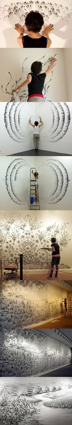 Fingerings by Judith Braun: Symmetrical abstractions created with her fingers dipped in charcoal dust, often using both hands and arms simultaneously.