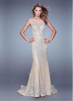 Chic Tulle & Stretch Satin Jewel Neckline Floor-length Sheath Prom Dress