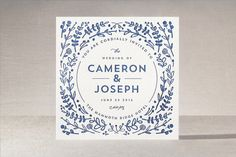 "Floral Frame Letterpress Wedding Invitations by Lori Wemple at minted.com love the circular ""button"" logo"