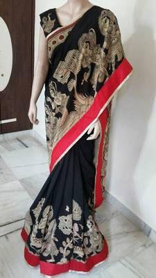 Gorgeous. . KALAMKARI SAREE..national award winning style. .handpainted crape saree for your wardrobe