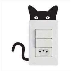 Faça Você Mesmo Adesivo de Tomada (Moldes)                                                                                                                                                                                 Mais #catsdiydecoration