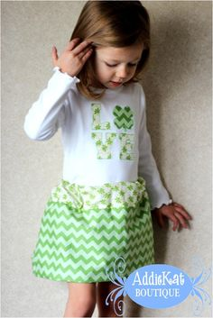 Personalized St. Patrick's Day Boutique Chevron Bubble Skirt Outfit. $54.50, via Etsy.