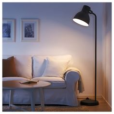 HEKTAR Floor lamp with LED bulb, dark gray. The simple, oversized metal shape is inspired by old lamps from places like factories and theaters. Ikea Floor Lamp, White Floor Lamp, Gray Floor, Cool Floor Lamps, Hektar Ikea, Clear Light Bulbs, Old Lamps, Room Lamp, Bed Room