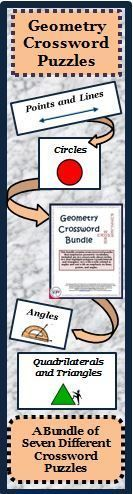 This geometry crossword bundle contains seven different crossword puzzles that emphasize geometric vocabulary. Included are two math crosswords about circles, two that highlight polygons (quadrilaterals and triangles), two concerning angles and one with an emphasis on lines, points, and angles. The purpose of these puzzles is to have students practice, review, recognize and use correct geometric vocabulary.  A puzzle solution is included for each of the seven puzzles.