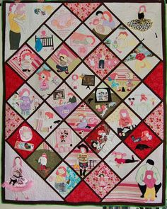 Full-sized applique quilt made from baby clothes of 7-year old Rosie