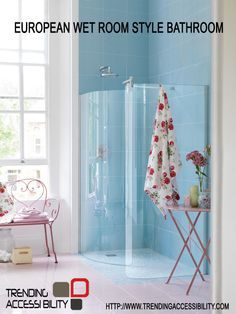 Trending Accessibility has the products and accessories available and in inventory to create a true curb less shower system. Pictured is a european inspired wet room with curved glass shower panels.