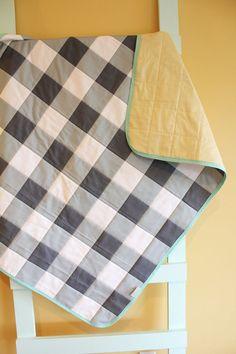 Blue Gray Gingham Buffalo Check Modern Geometric Quilt Petunias Blanket Crib…