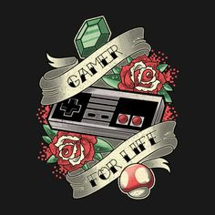 Gamer for Life Traditional Tattoo Design Nintendo Tattoo, Gaming Tattoo, Gamer Tattoos, Cute Mobile Wallpapers, Gaming Wallpapers, Hanya Tattoo, Dibujos Tattoo, Wow Art, Video Game Art