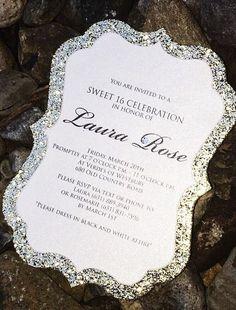 16th Birthday Invitation - Glitter Sweet 16 Birthday Invitations - Set of 25