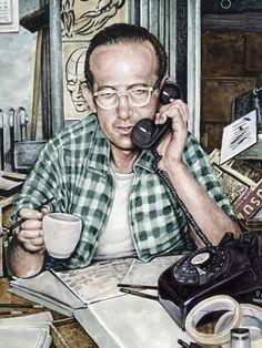 Un ritratto di Steve Ditko a opera dell'illustratore Drew Friedman. Old Comics, Marvel Dc Comics, Jewish Comedians, Art Spiegelman, Spiderman, Batman, Strange Tales, Steve Ditko, Comics Story