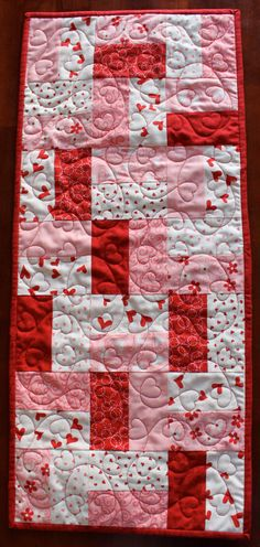 Quilted Red, Pink & Cream Valentine's Table Runner. $30.00, via Etsy.