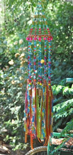 Turquoise, Fuchsia, apple green & orange unique wind chimes-Aqua wind chime-beads mobile-bell beads décor-windchimes-unique wind chime-outdoor garden decorations-suncatcher glass-bead suncatchers-sun catcher-sun chime I like the sound of bells and to look at sparkling crystal beads I