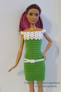 Crochet Toy Barbie Clothes Crotchet dress for Barbie Crochet Short Dresses, Crotchet Dress, Crochet Doll Dress, Crochet Barbie Clothes, Crochet Barbie Patterns, Barbie Clothes Patterns, Accessoires Barbie, Manequin, Knitting Dolls Clothes